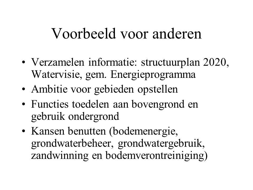 Voorbeeld voor anderen Verzamelen informatie: structuurplan 2020, Watervisie, gem.