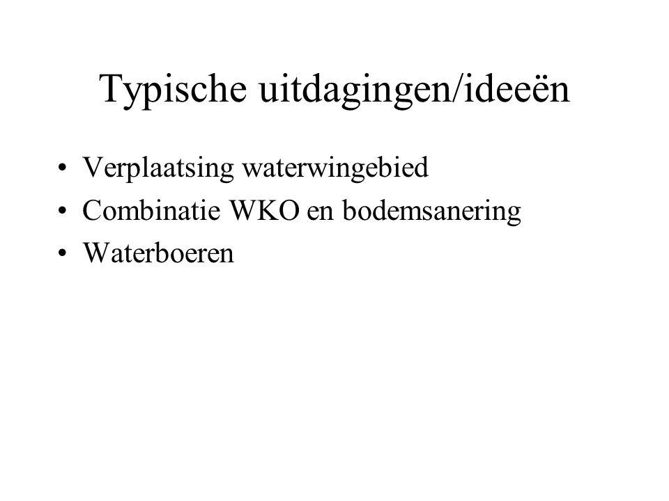 Typische uitdagingen/ideeën Verplaatsing waterwingebied Combinatie WKO en bodemsanering Waterboeren