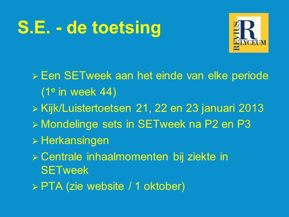 S.E. - de toetsing  Een SETweek aan het einde van elke periode (1 e in week 44)  Kijk/Luistertoetsen 21, 22 en 23 januari 2013  Mondelinge sets in