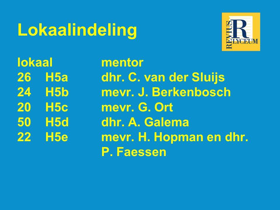 Lokaalindeling lokaalmentor 26H5adhr. C. van der Sluijs 24H5bmevr.
