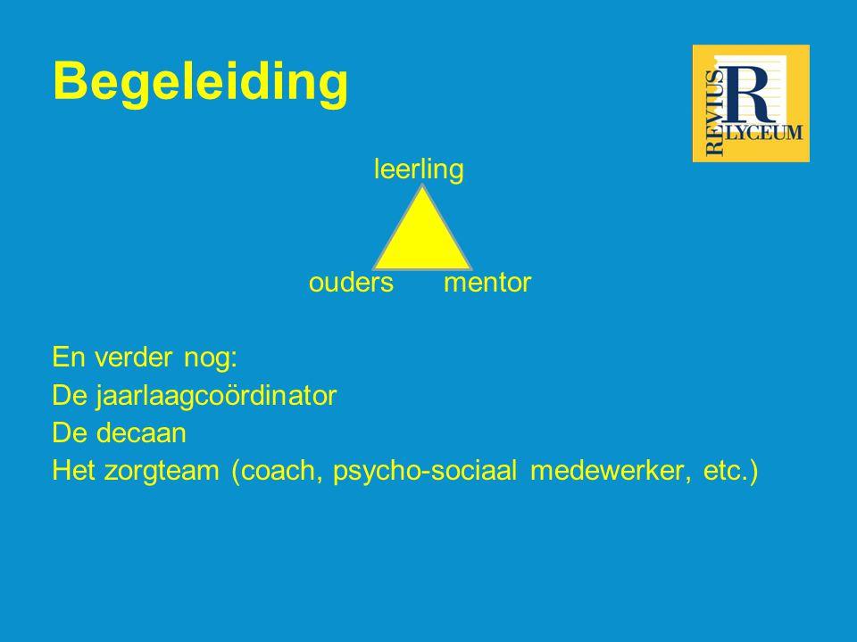 Begeleiding leerling ouders mentor En verder nog: De jaarlaagcoördinator De decaan Het zorgteam (coach, psycho-sociaal medewerker, etc.)