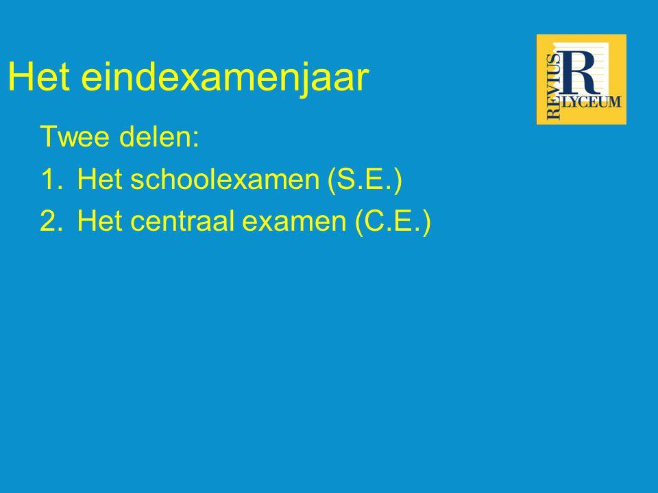 Het eindexamenjaar Twee delen: 1.Het schoolexamen (S.E.) 2.Het centraal examen (C.E.)