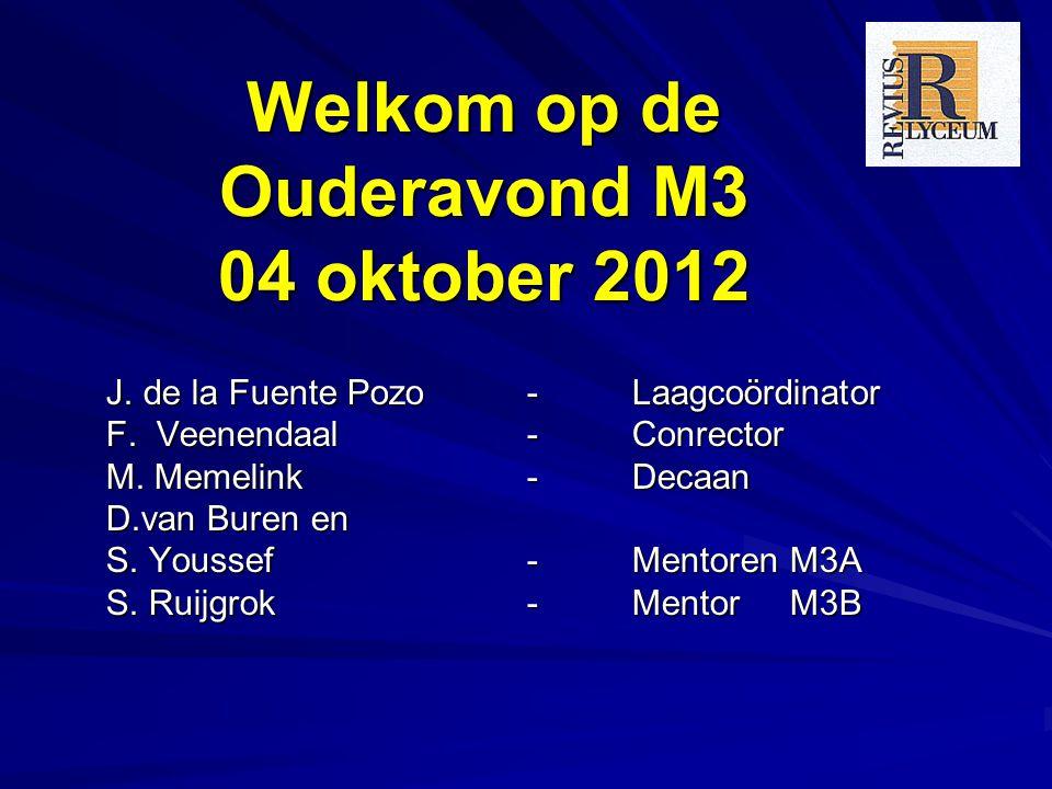 Welkom op de Ouderavond M3 04 oktober 2012 J. de la Fuente Pozo - Laagcoördinator F. Veenendaal - Conrector M. Memelink - Decaan D.van Buren en S. You