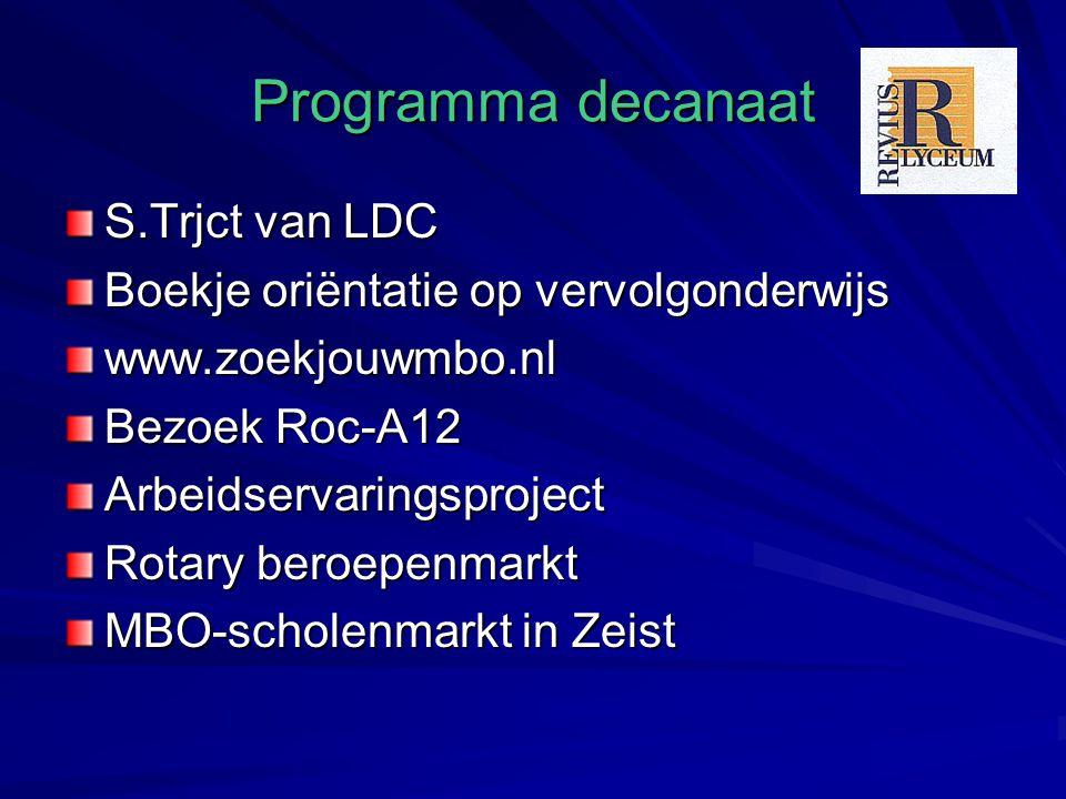Programma decanaat S.Trjct van LDC Boekje oriëntatie op vervolgonderwijs www.zoekjouwmbo.nl Bezoek Roc-A12 Arbeidservaringsproject Rotary beroepenmarkt MBO-scholenmarkt in Zeist