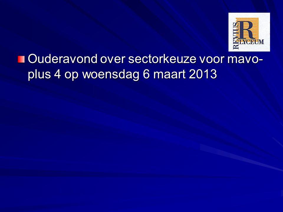 Ouderavond over sectorkeuze voor mavo- plus 4 op woensdag 6 maart 2013