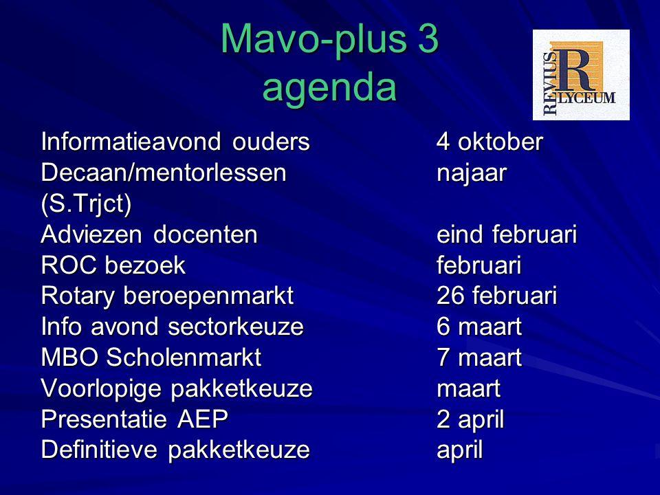 Mavo-plus 3 agenda Informatieavond ouders4 oktober Decaan/mentorlessennajaar (S.Trjct) Adviezen docenteneind februari ROC bezoekfebruari Rotary beroep