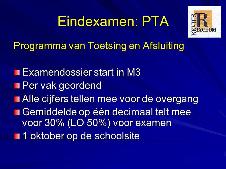 Eindexamen: PTA Programma van Toetsing en Afsluiting Examendossier start in M3 Per vak geordend Alle cijfers tellen mee voor de overgang Gemiddelde op één decimaal telt mee voor 30% (LO 50%) voor examen 1 oktober op de schoolsite