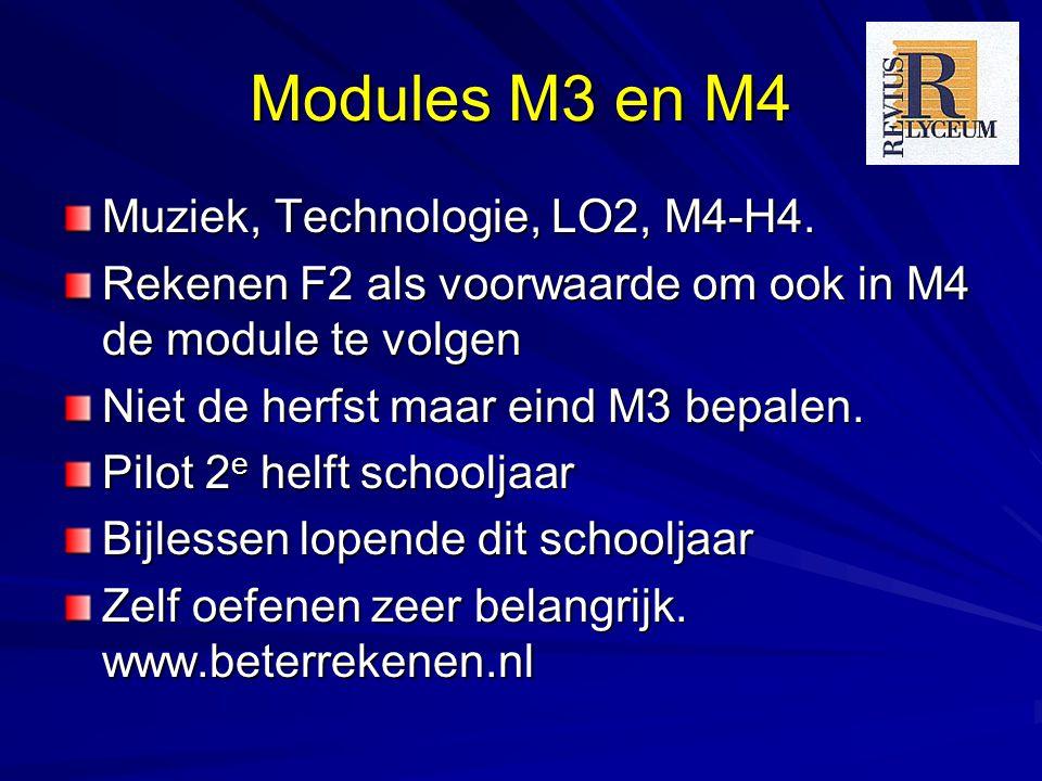 Modules M3 en M4 Muziek, Technologie, LO2, M4-H4. Rekenen F2 als voorwaarde om ook in M4 de module te volgen Niet de herfst maar eind M3 bepalen. Pilo