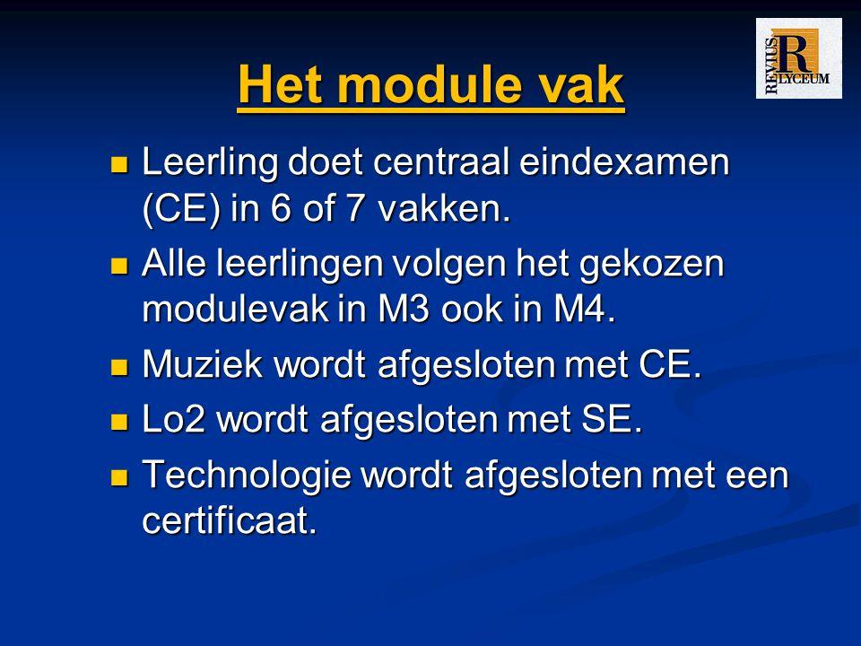 Het module vak Leerling doet centraal eindexamen (CE) in 6 of 7 vakken.