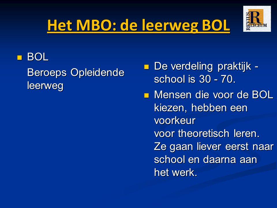 Het MBO: de leerweg BOL BOL BOL Beroeps Opleidende leerweg De verdeling praktijk - school is 30 - 70.