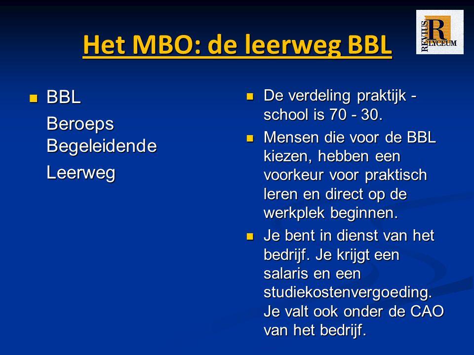 Het MBO: de leerweg BBL BBL BBL Beroeps Begeleidende Leerweg De verdeling praktijk - school is 70 - 30.
