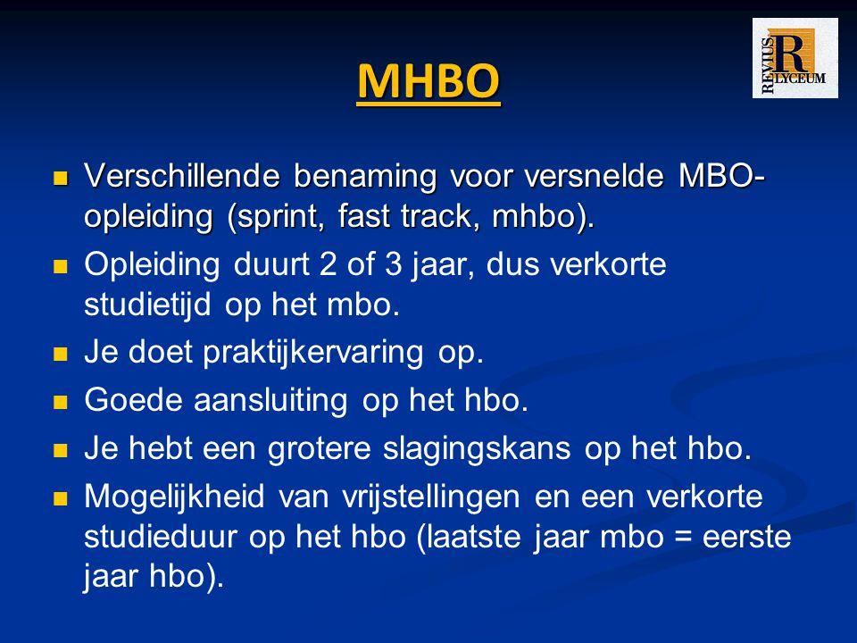 MHBO Verschillende benaming voor versnelde MBO- opleiding (sprint, fast track, mhbo).