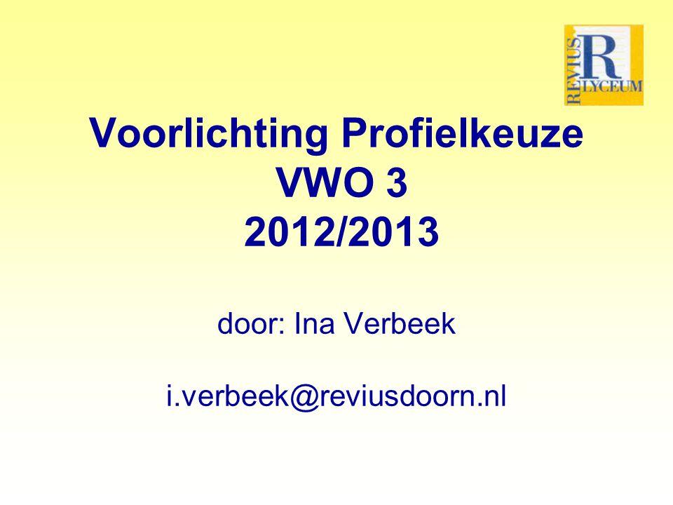 Voorlichting Profielkeuze VWO 3 2012/2013 door: Ina Verbeek i.verbeek@reviusdoorn.nl