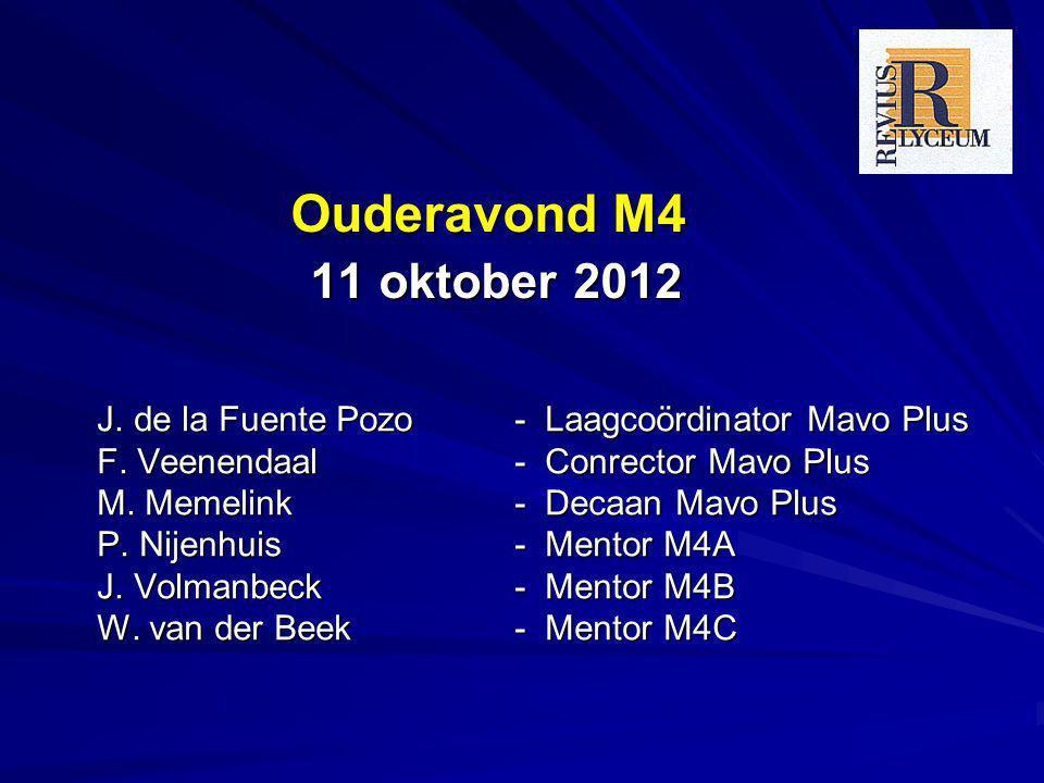Ouderavond M4 11 oktober 2012 J. de la Fuente Pozo- Laagcoördinator Mavo Plus F. Veenendaal - Conrector Mavo Plus M. Memelink - Decaan Mavo Plus P. Ni