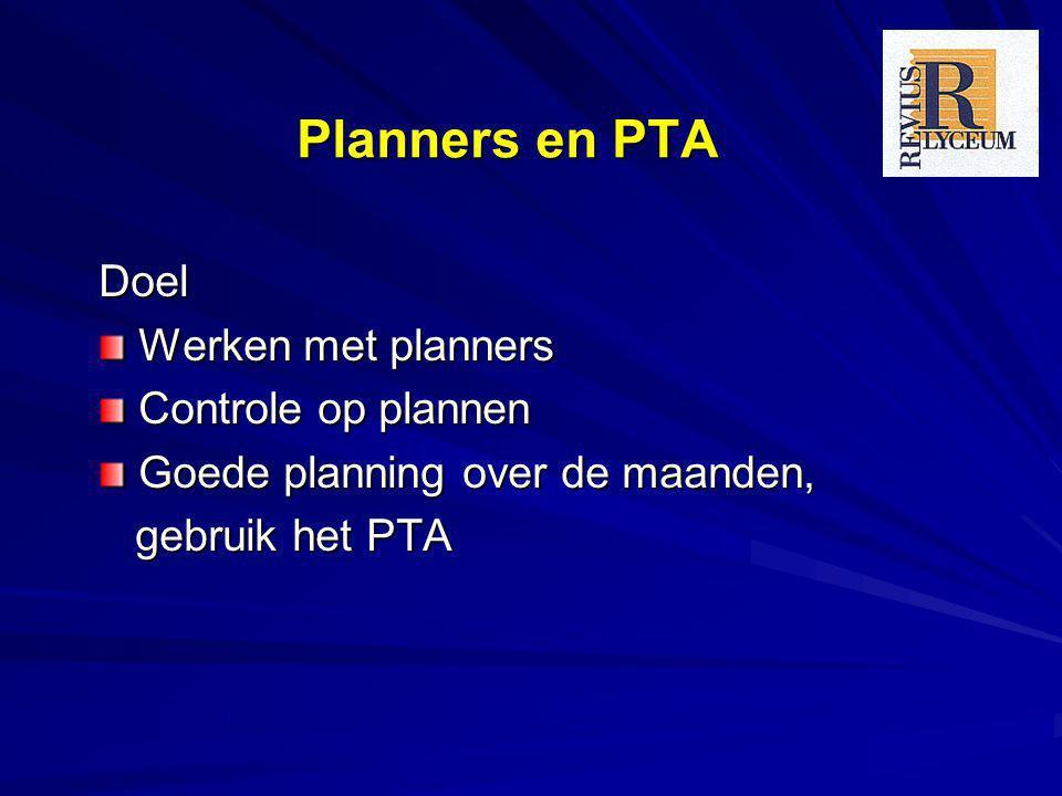 Planners en PTA Doel Werken met planners Controle op plannen Goede planning over de maanden, gebruik het PTA gebruik het PTA