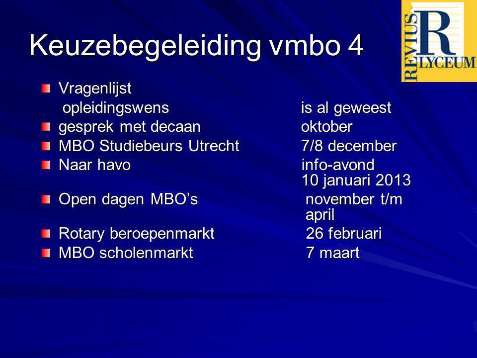 Keuzebegeleiding vmbo 4 Vragenlijst opleidingswens is al geweest opleidingswens is al geweest gesprek met decaan oktober MBO Studiebeurs Utrecht 7/8 d