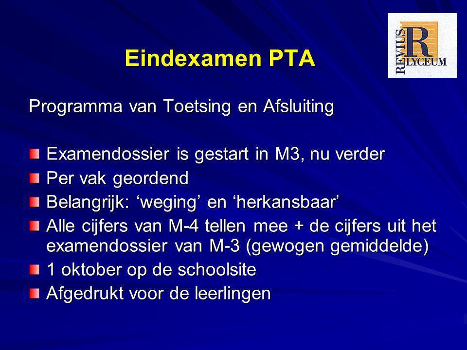 Eindexamen PTA Programma van Toetsing en Afsluiting Examendossier is gestart in M3, nu verder Per vak geordend Belangrijk: 'weging' en 'herkansbaar' A