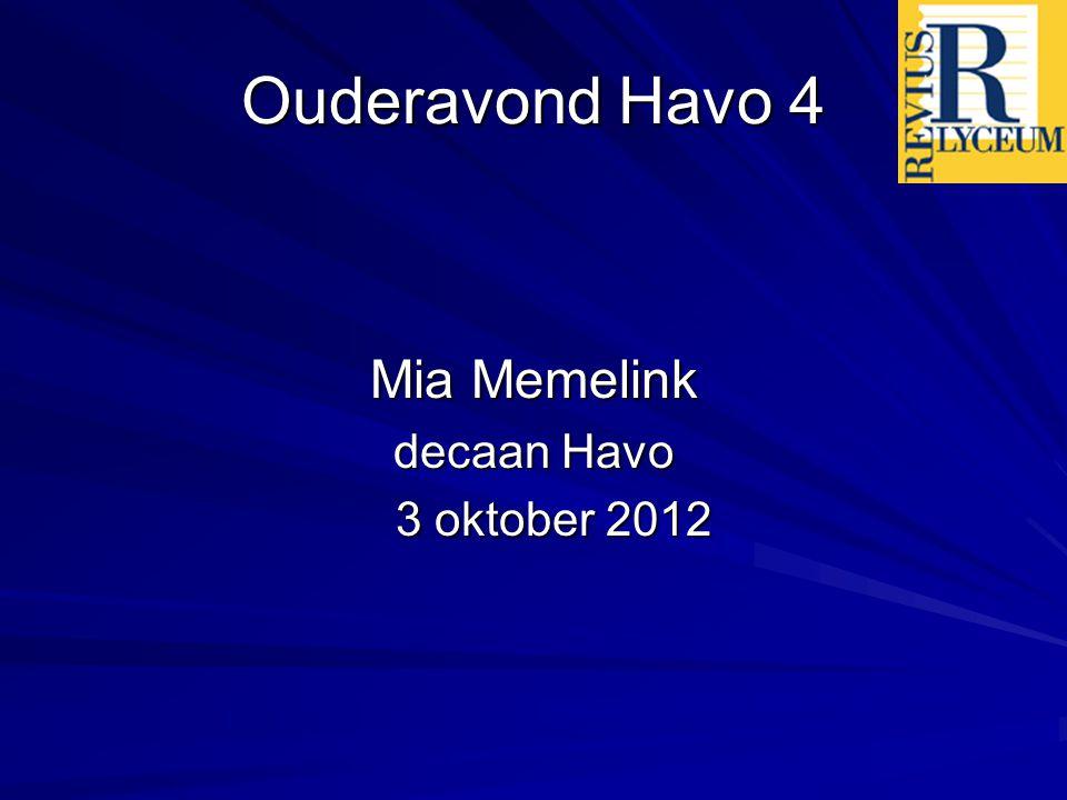 Ouderavond Havo 4 Mia Memelink decaan Havo 3 oktober 2012