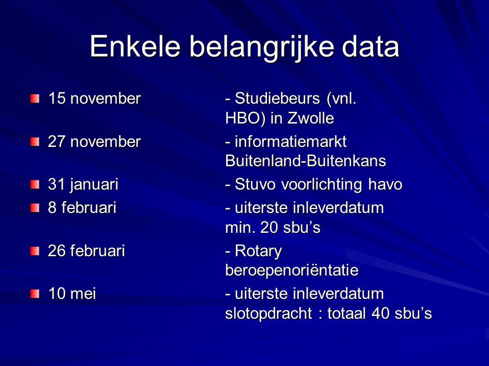 Enkele belangrijke data 15 november - Studiebeurs (vnl.