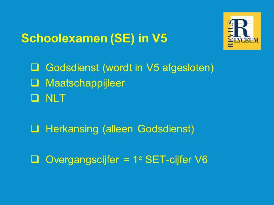 Schoolexamen (SE) in V5  Godsdienst (wordt in V5 afgesloten)  Maatschappijleer  NLT  Herkansing (alleen Godsdienst)  Overgangscijfer = 1 e SET-ci