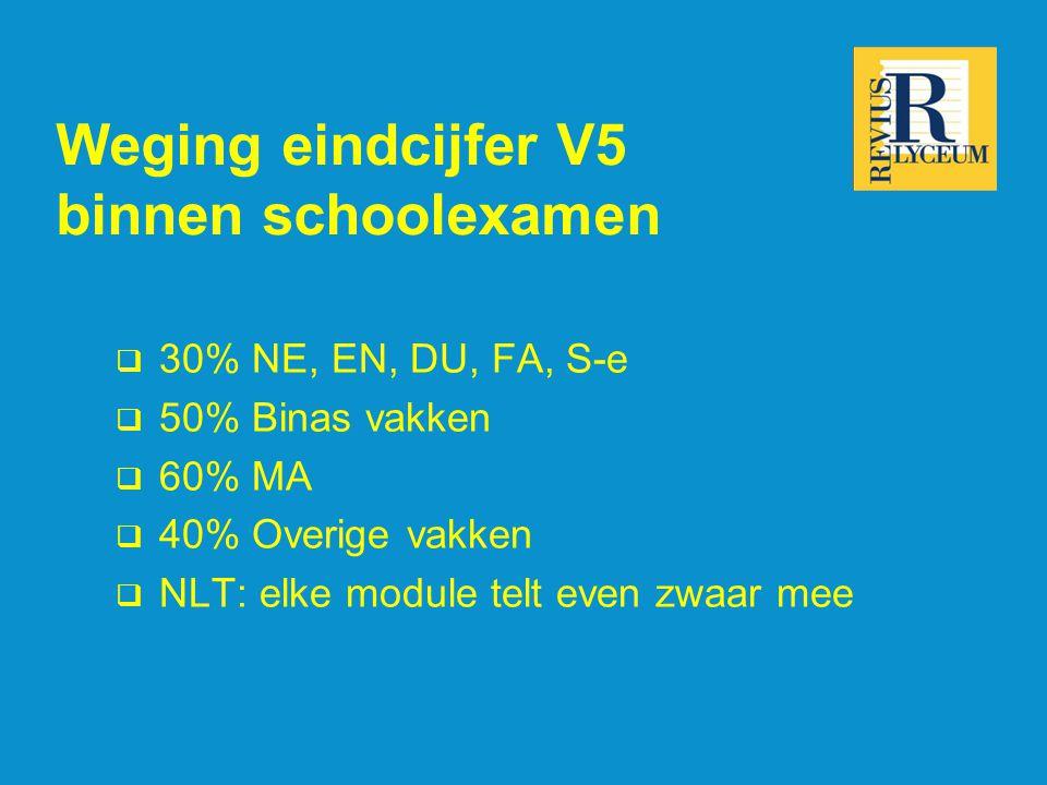 Weging eindcijfer V5 binnen schoolexamen  30% NE, EN, DU, FA, S-e  50% Binas vakken  60% MA  40% Overige vakken  NLT: elke module telt even zwaar