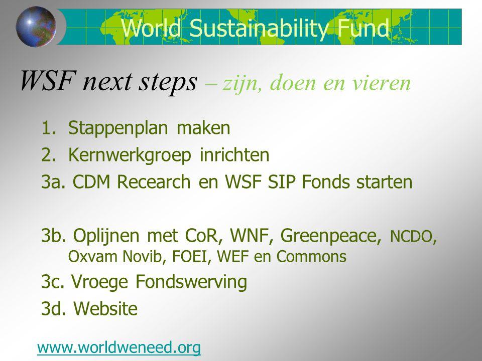 WSF next steps – zijn, doen en vieren 1.Stappenplan maken 2.Kernwerkgroep inrichten 3a.