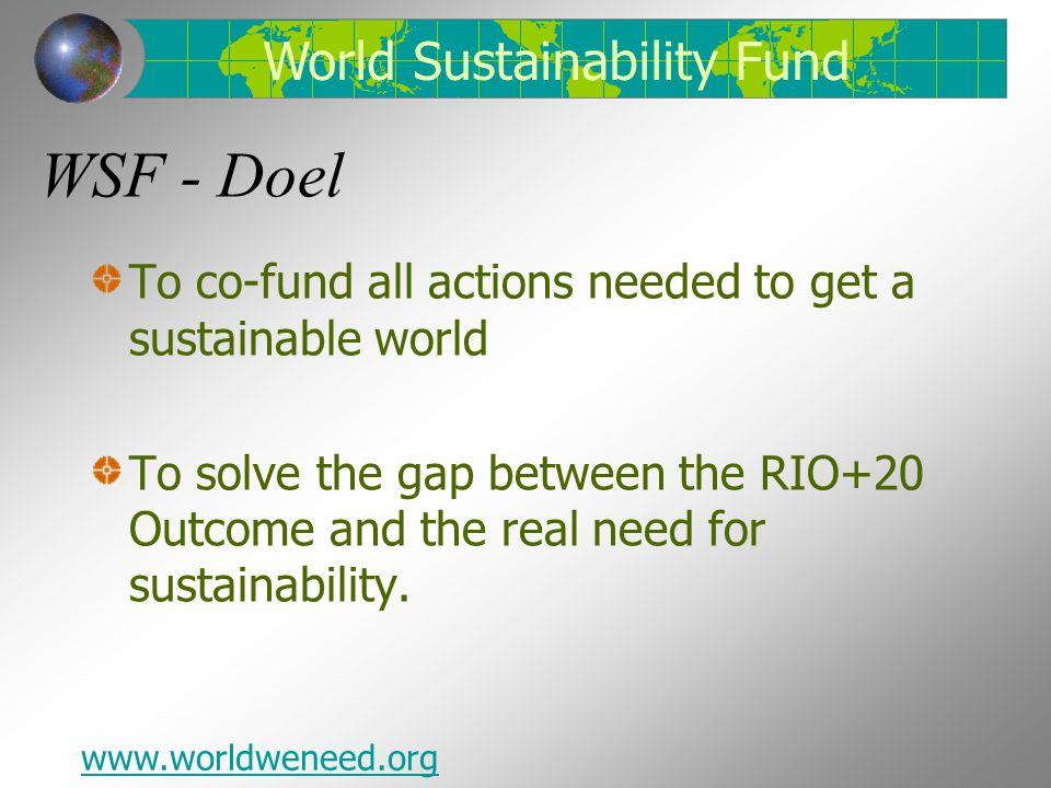 Life at risk World Sustainability Fund www.worldweneed.org