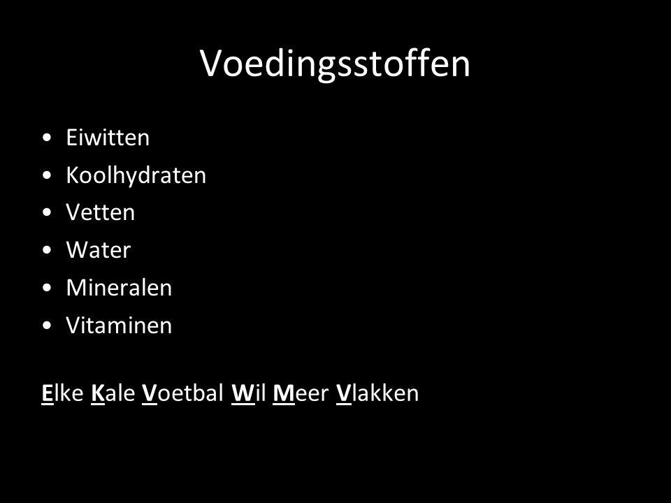 Voedingsstoffen Eiwitten Koolhydraten Vetten Water Mineralen Vitaminen Elke Kale Voetbal Wil Meer Vlakken