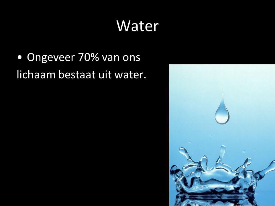 Water Ongeveer 70% van ons lichaam bestaat uit water.