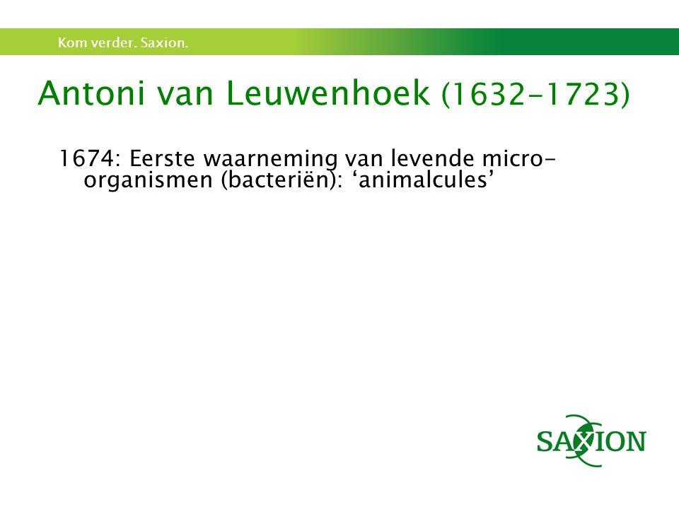 Kom verder. Saxion. Antoni van Leuwenhoek (1632-1723) 1674: Eerste waarneming van levende micro- organismen (bacteriën): 'animalcules'