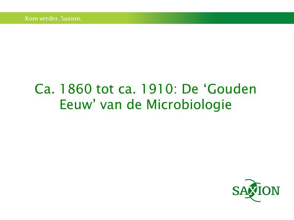 Kom verder. Saxion. Ca. 1860 tot ca. 1910: De 'Gouden Eeuw' van de Microbiologie