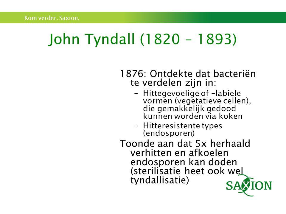 Kom verder. Saxion. John Tyndall (1820 – 1893) 1876: Ontdekte dat bacteriën te verdelen zijn in: –Hittegevoelige of –labiele vormen (vegetatieve celle