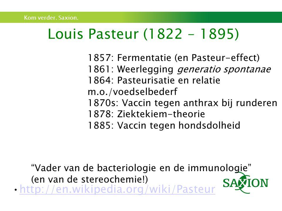 Kom verder. Saxion. Louis Pasteur (1822 – 1895) 1857: Fermentatie (en Pasteur-effect) 1861: Weerlegging generatio spontanae 1864: Pasteurisatie en rel