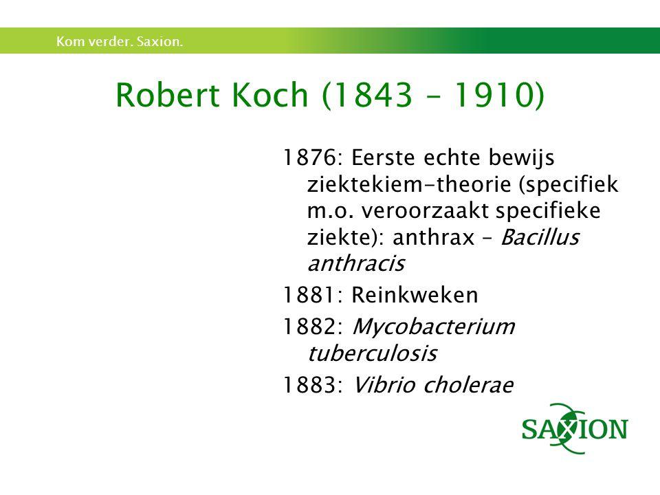 Kom verder. Saxion. Robert Koch (1843 – 1910) 1876: Eerste echte bewijs ziektekiem-theorie (specifiek m.o. veroorzaakt specifieke ziekte): anthrax – B