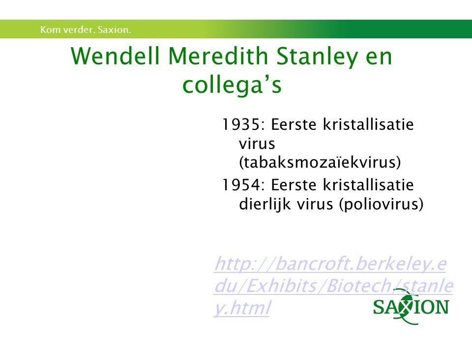 Kom verder. Saxion. Wendell Meredith Stanley en collega's 1935: Eerste kristallisatie virus (tabaksmozaïekvirus) 1954: Eerste kristallisatie dierlijk