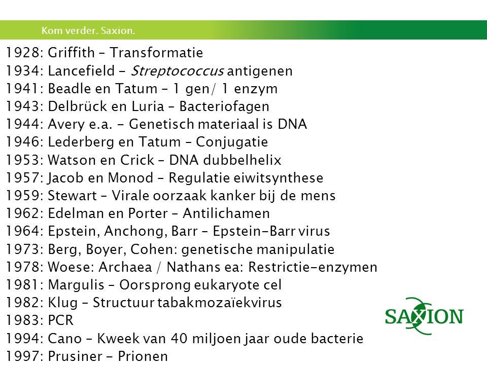 Kom verder. Saxion. 1928: Griffith – Transformatie 1934: Lancefield - Streptococcus antigenen 1941: Beadle en Tatum – 1 gen/ 1 enzym 1943: Delbrück en