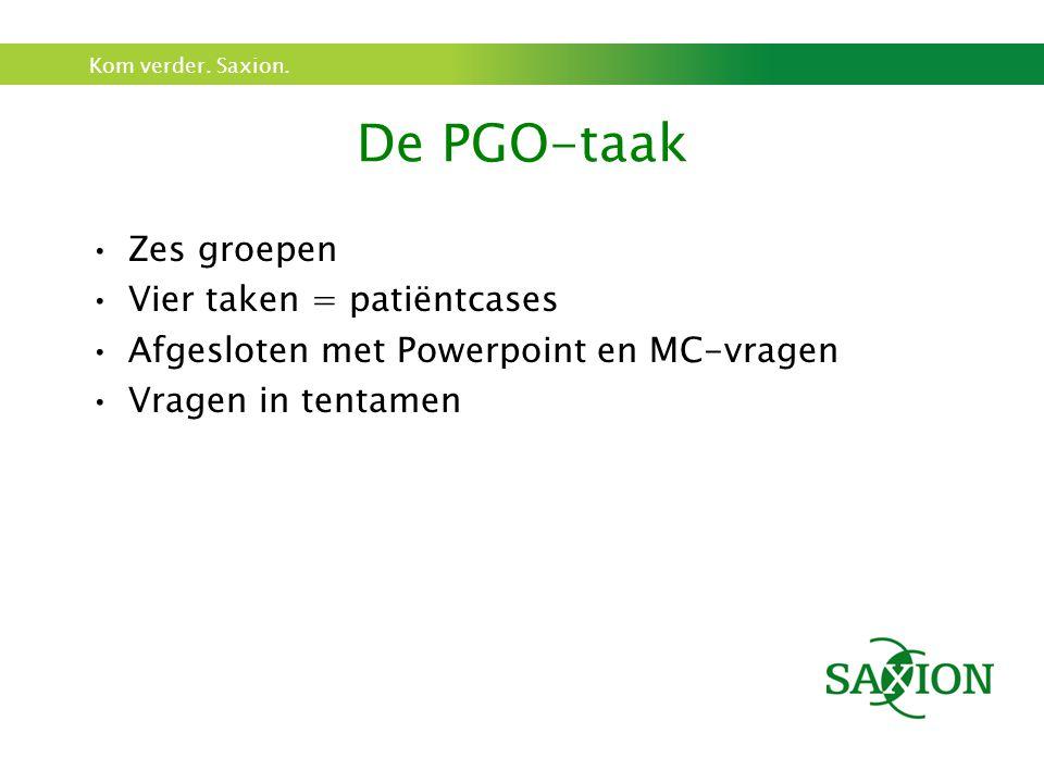 Kom verder. Saxion. De PGO-taak Zes groepen Vier taken = patiëntcases Afgesloten met Powerpoint en MC-vragen Vragen in tentamen