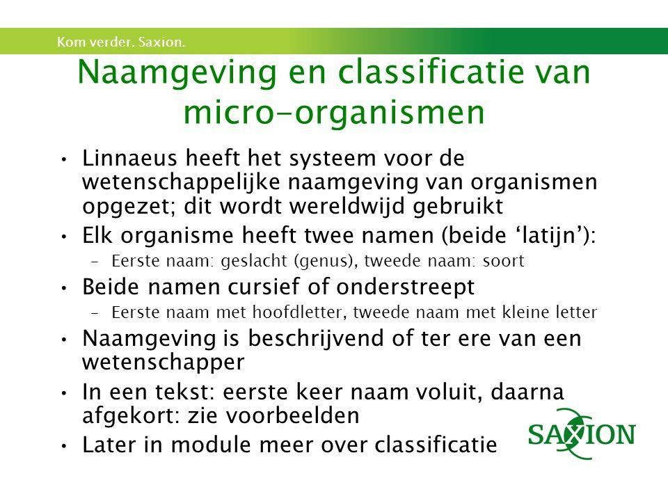 Kom verder. Saxion. Naamgeving en classificatie van micro-organismen Linnaeus heeft het systeem voor de wetenschappelijke naamgeving van organismen op