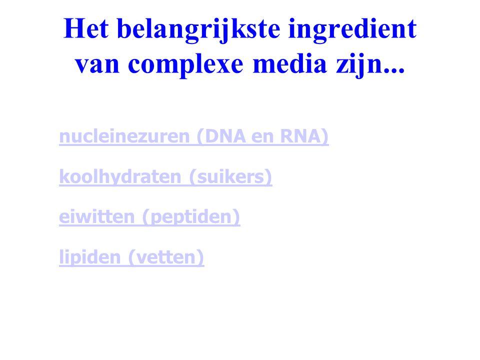 Het belangrijkste ingredient van complexe media zijn... nucleinezuren (DNA en RNA) koolhydraten (suikers) eiwitten (peptiden) lipiden (vetten)