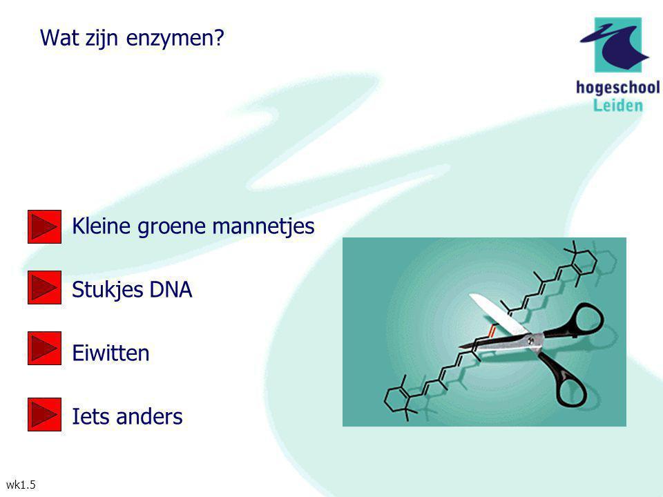 wk1.5 Wat zijn enzymen? Kleine groene mannetjes Stukjes DNA Eiwitten Iets anders