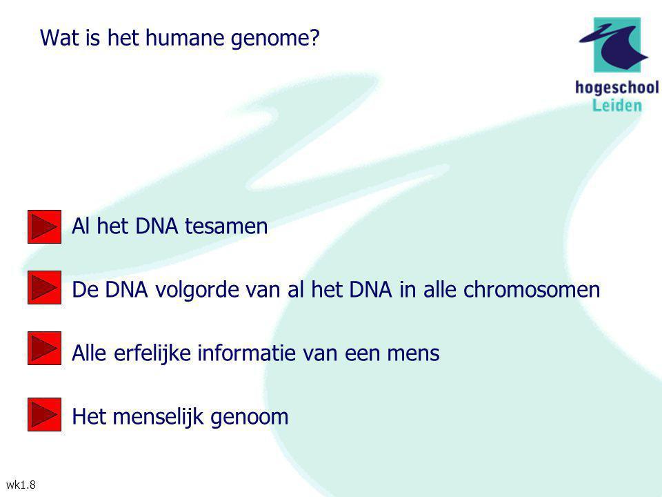 wk1.8 Wat is het humane genome? Al het DNA tesamen De DNA volgorde van al het DNA in alle chromosomen Alle erfelijke informatie van een mens Het mense