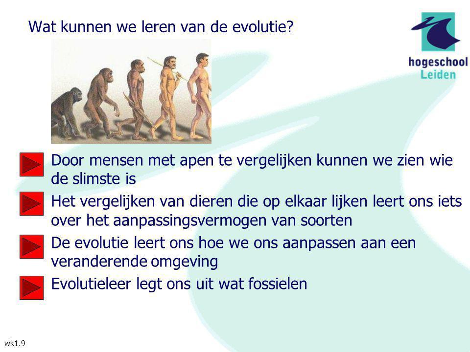 wk1.9 Wat kunnen we leren van de evolutie? Door mensen met apen te vergelijken kunnen we zien wie de slimste is Het vergelijken van dieren die op elka