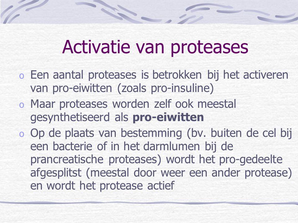 Activatie van proteases o Een aantal proteases is betrokken bij het activeren van pro-eiwitten (zoals pro-insuline) o Maar proteases worden zelf ook m