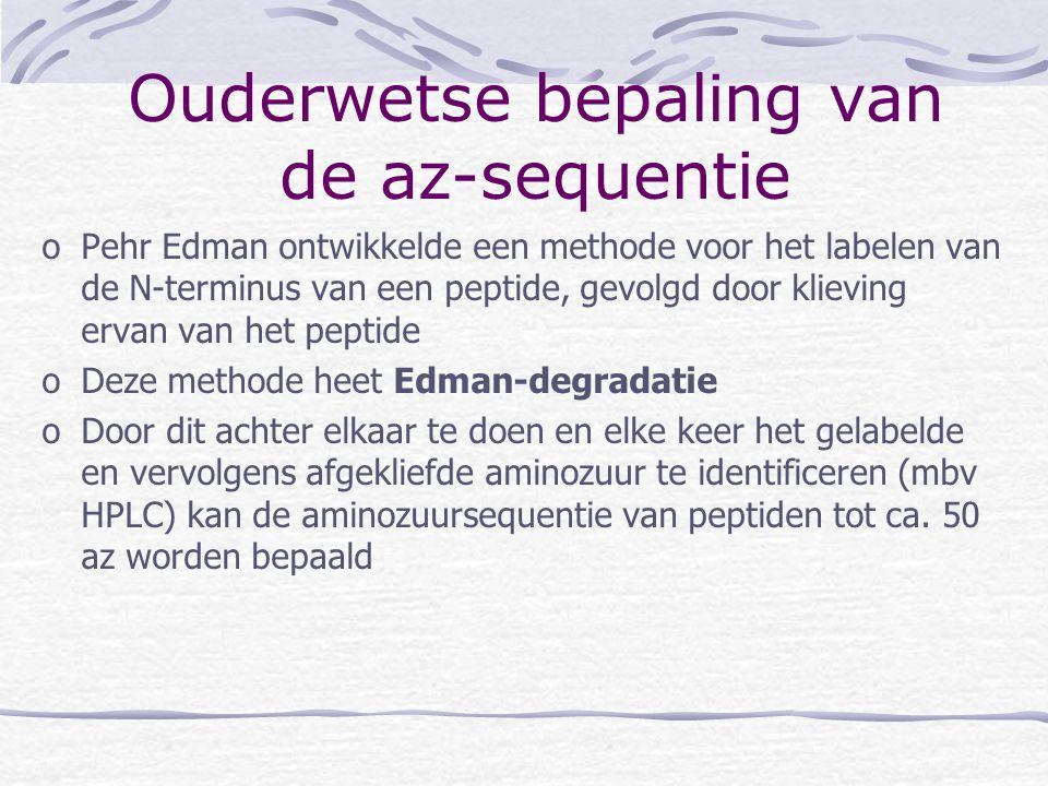 oPehr Edman ontwikkelde een methode voor het labelen van de N-terminus van een peptide, gevolgd door klieving ervan van het peptide oDeze methode heet