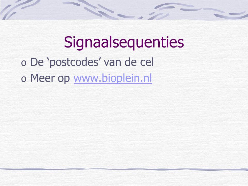 Signaalsequenties o De 'postcodes' van de cel o Meer op www.bioplein.nlwww.bioplein.nl