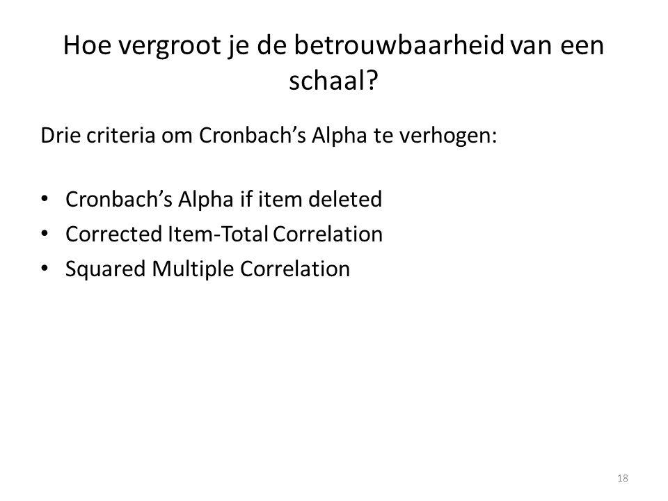 Hoe vergroot je de betrouwbaarheid van een schaal? Drie criteria om Cronbach's Alpha te verhogen: Cronbach's Alpha if item deleted Corrected Item-Tota