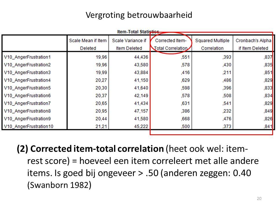Vergroting betrouwbaarheid (2) Corrected item-total correlation (heet ook wel: item- rest score) = hoeveel een item correleert met alle andere items.