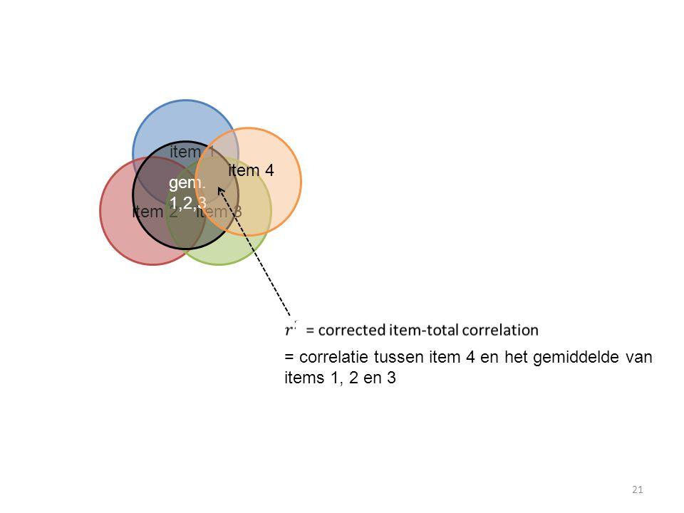 item 1 item 2 item 3 gem. 1,2,3 item 4 = correlatie tussen item 4 en het gemiddelde van items 1, 2 en 3 21