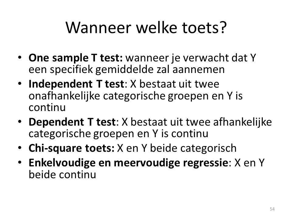 Wanneer welke toets? One sample T test: wanneer je verwacht dat Y een specifiek gemiddelde zal aannemen Independent T test: X bestaat uit twee onafhan