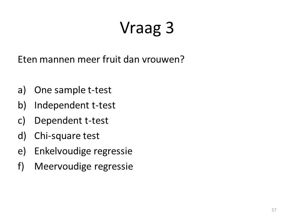 Vraag 3 Eten mannen meer fruit dan vrouwen? a)One sample t-test b)Independent t-test c)Dependent t-test d)Chi-square test e)Enkelvoudige regressie f)M
